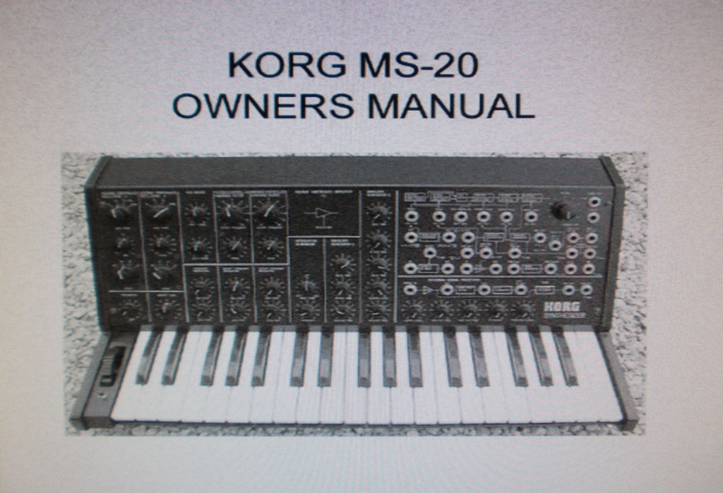 KORG MS-20 MONOPHONIC SYNTHESIZER OWNER'S MANUAL INC BLK DIAG AND CONN DIAGS 13 PAGES ENG BW COVER