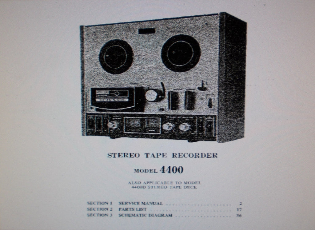 AKAI 4400 4400D 4 TRACK STEREO REEL TO REEL TAPE RECORDER SERVICE MANUAL INC SCHEMS PCBS AND PARTS LIST 34 PAGES ENG