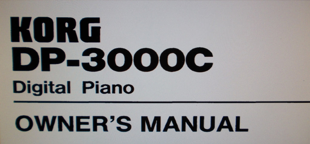 KORG DP-3000C DIGITAL PIANO OWNER'S MANUAL 27 PAGES ENG