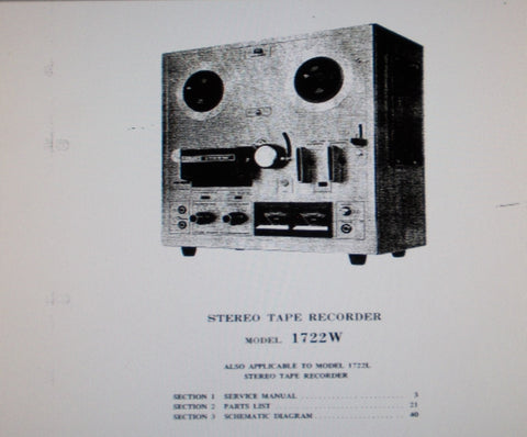 AKAI 1722W 1722L STEREO REEL TO REEL TAPE RECORDER SERVICE MANUAL INC SCHEMS PCBS AND PARTS LIST 44 PAGES ENG