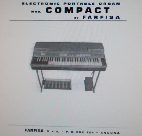 FARFISA COMPACT ELECTRONIC PORTABLE ORGAN SERVICE MANUAL INC SCHEMS AND PCBS 9 PAGES ENG