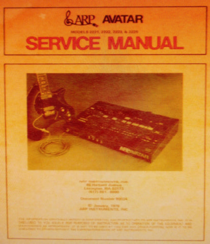 ARP AVATAR MODELS 2221 2222 2223 2225 SYNTHESIZER AND PITCH EXTRACTOR CV GENERATOR SERVICE MANUAL INC BLK DIAGS SCHEMS PCBS AND PARTS LIST 50 PAGES ENG