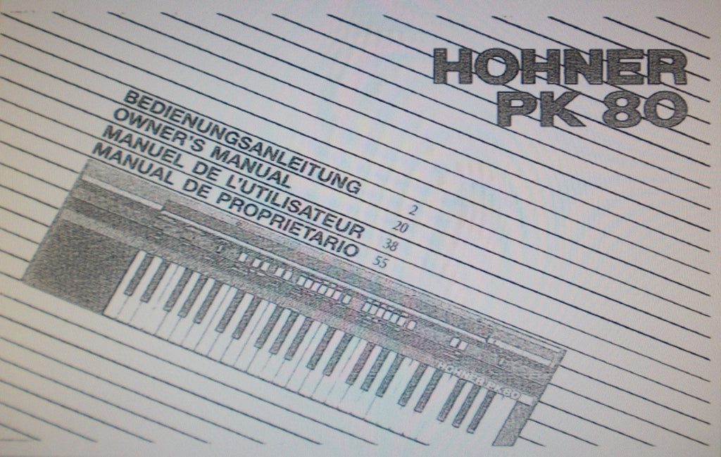 HOHNER PK80 KEYBOARD OWNER'S MANUAL 71 PAGES ENG DEUT FRANC ESP