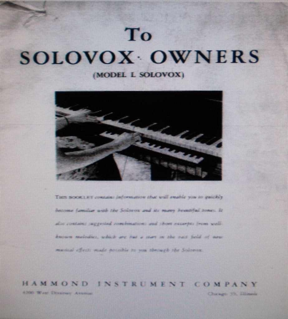 HAMMOND SOLOVOX MODEL L KEYBOARD OWNERS MANUAL INC INSTAL INSTR AND DIAGS TUNING AND ADJ PLUS SERVICE HINTS 15 PAGES ENG