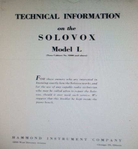 HAMMOND SOLOVOX MODEL L KEYBOARD TECHNICAL INFORMATION INC BLK DIAGS WIRING DIAGS AND SCHEMS 25 PAGES ENG