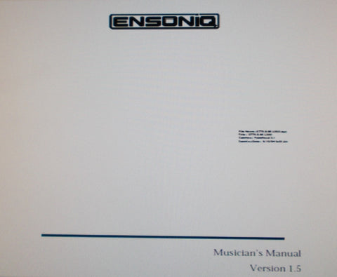 ENSONIQ KT-76 KT-88 64 VOICE POLYPHONIC SYNTHESIZER MUSICIAN'S MANUAL VER 1.5 249 PAGES ENG