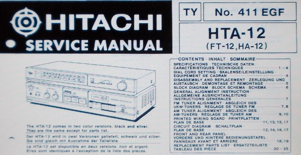 HITACHI HTA-12 FT-12 HA-12 STEREO TUNER AMP SERVICE MANUAL INC SCHEMS AND PARTS LIST 32 PAGES ENG DEUT FRANC