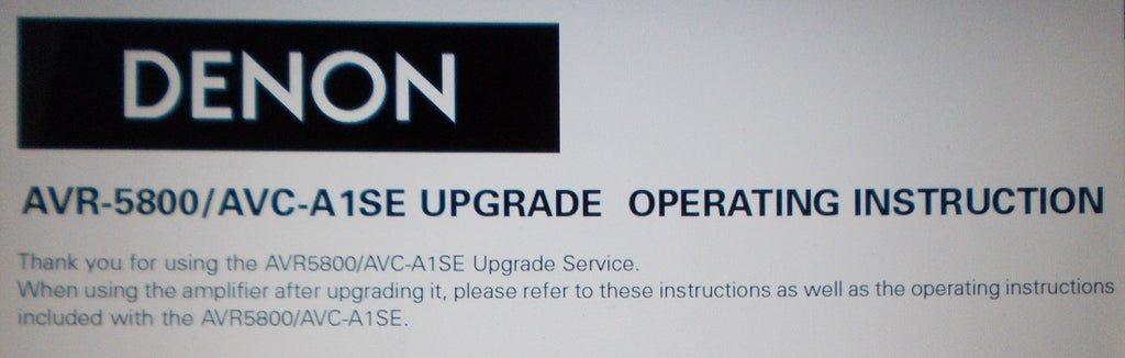 DENON AVC-A1SE AVR-5800 AMPLIFIER UPGRADE OPERATING INSTRUCTIONS 24 PAGES ENG DEUT FRANC