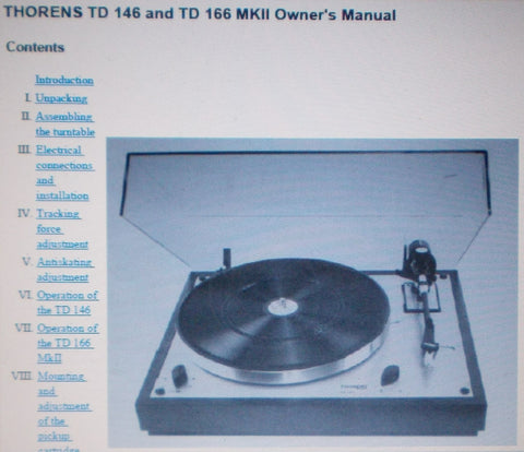 THORENS TD146 TD166MKII TURNTABLE OWNER'S MANUAL 36 PAGES ENG