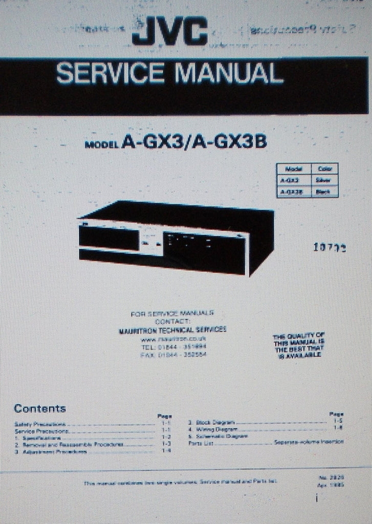 JVC A-GX3 A-GX3B POWER AMP SERVICE MANUAL INC SCHEMS AND PARTS LIST 35 PAGES ENG