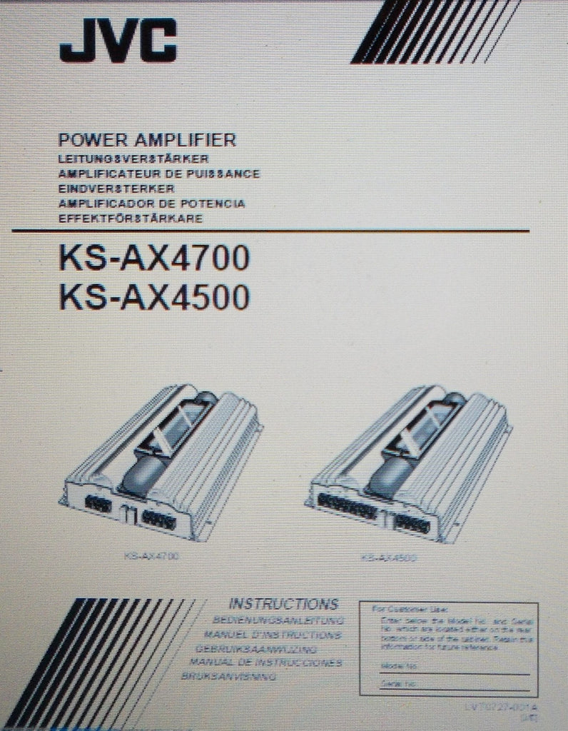 JVC KS-AX4700 KS-AX4500 POWER AMP INSTRUCTIONS INC CONN DIAGS AND TRSHOOT GUIDE 20 PAGES ENG DEUT FRANC NL ESP SVENSKA