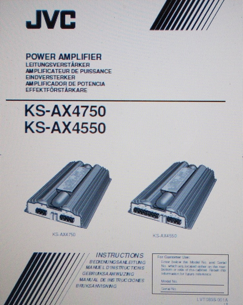 JVC KS-AX4750 KS-AX4550 POWER AMP INSTRUCTIONS INC CONN DIAGS AND TRSHOOT GUIDE 20 PAGES ENG DEUT FRANC NL ESP SVENSKA