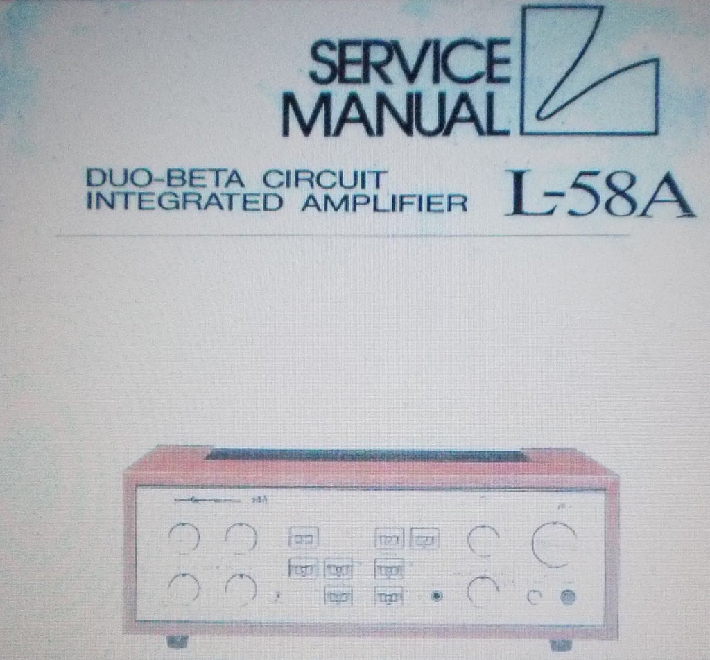 LUXMAN L-58A DUO BETA CIRCUIT INTEGRATED AMP SERVICE MANUAL INC SCHEMS AND PARTS LIST 12 PAGES ENG