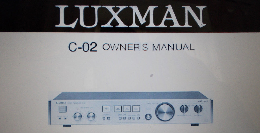 LUXMAN C-02 DUO BETA CIRCUIT SEPARATE PREAMP OWNER'S MANUAL INC CONN AND BLK DIAGS 8 PAGES ENG