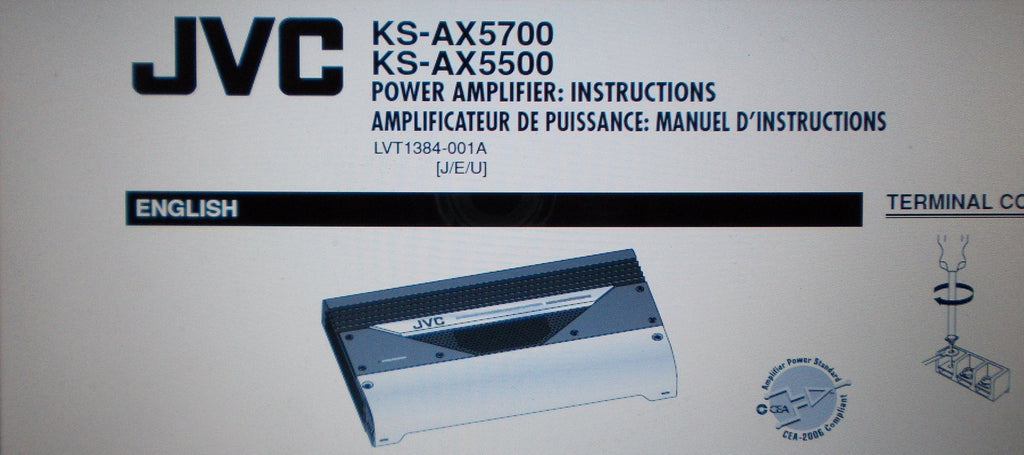 JVC KS-AX5700 KS-AX5500 POWER AMP INSTRUCTIONS INC CONN DIAGS INSTALL GUIDE AND TRSHOOT GUIDE 6 PAGES ENG FRANC