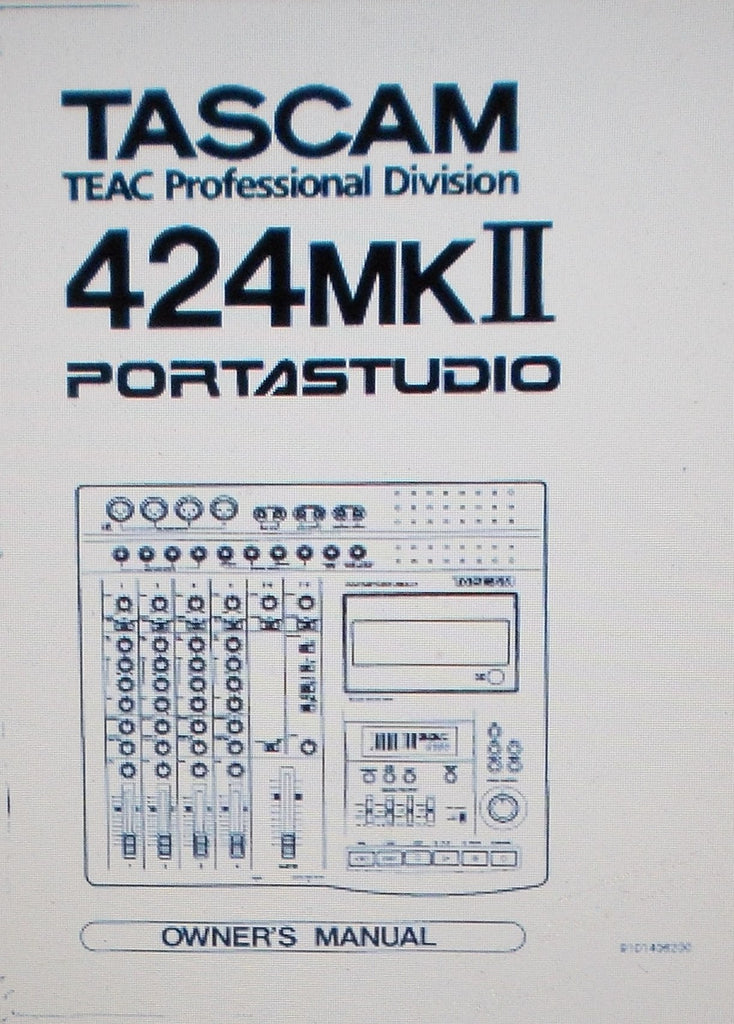 TASCAM 424MKII PORTASTUDIO 4 TRACK MULTITRACK MASTER CASSETTE TAPE RECORDER Bx2 MIXER WORKSTATION OWNER'S MANUAL INC CONN DIAG 38 PAGES ENG