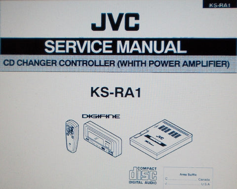 JVC KS-RA1 CD CHANGER CONTROLLER WITH POWER AMP SERVICE MANUAL INC SCHEMS PARTS LIST INSTALL GUIDE AND CONN DIAGS 26 PAGES ENG