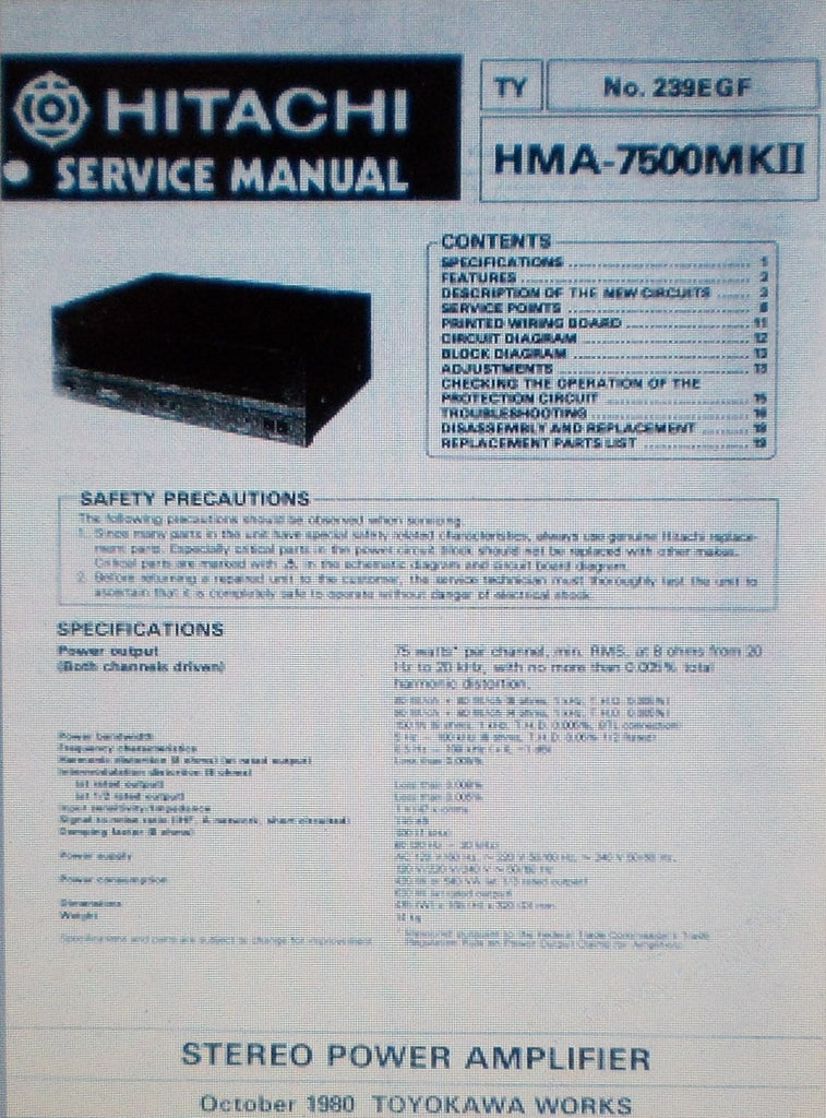 HITACHI HMA-7500MKII STEREO POWER AMP SERVICE MANUAL INC SCHEMS AND PARTS LIST 21 PAGES ENG DEUT FRANC