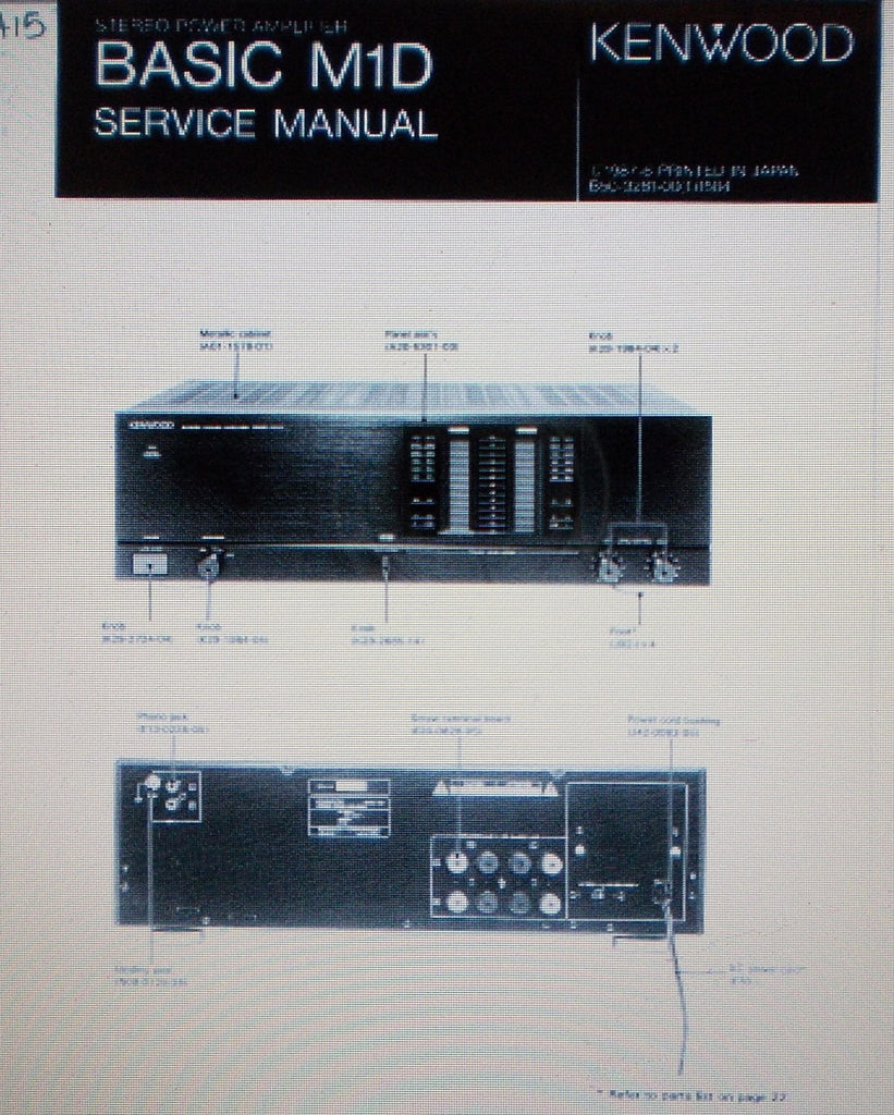 KENWOOD BASIC M1D STEREO POWER AMP SERVICE MANUAL INC SCHEMS AND PARTS LIST 18 PAGES ENG