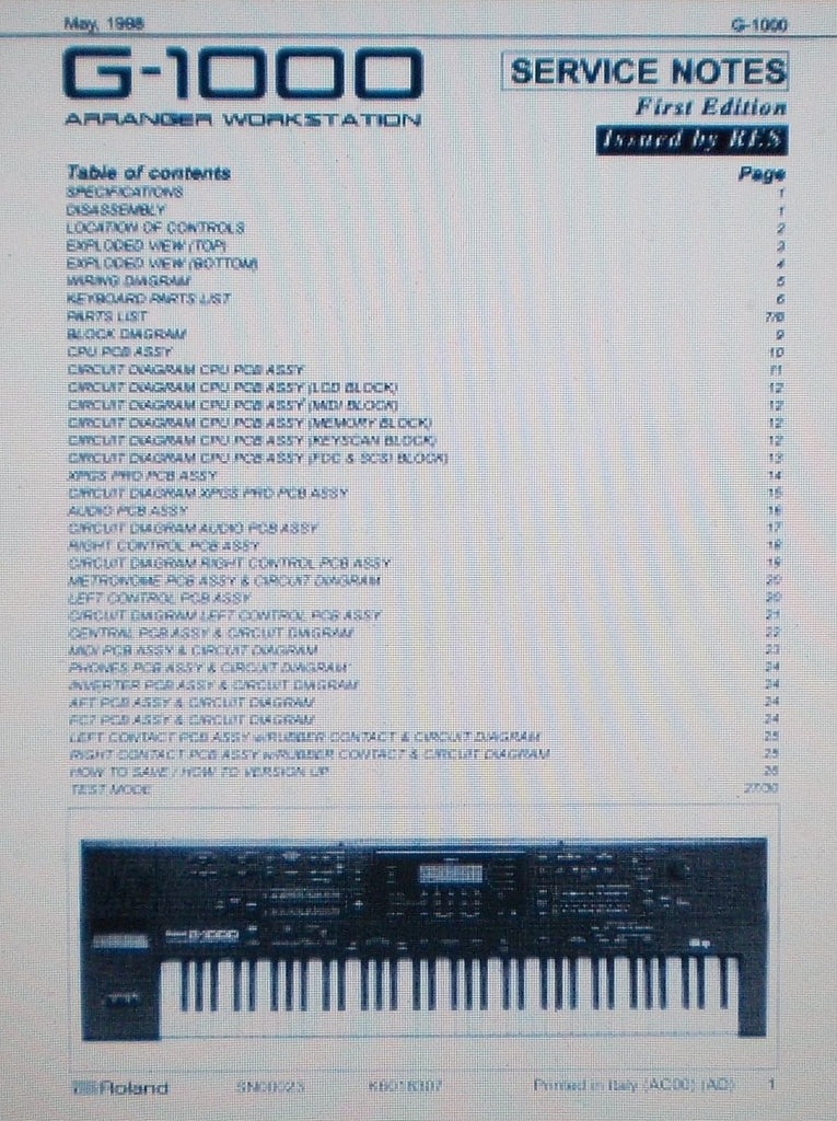ROLAND G-1000 ARRANGER WORKSTATION SERVICE NOTES FIRST EDITION INC BLK DIAG CIRC DIAGS PCBS AND PARTS LIST 30 PAGES ENG