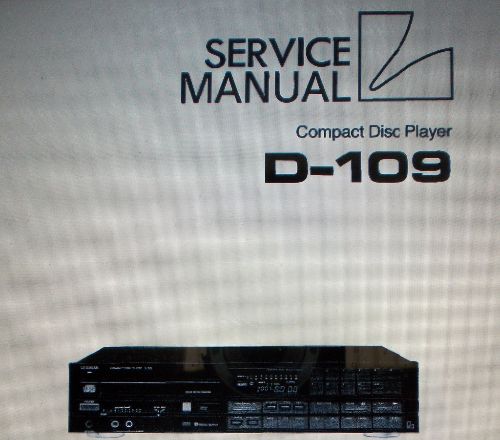 LUXMAN D-109 CD PLAYER SERVICE MANUAL INC SCHEMS AND PARTS LIST 63 PAGES ENG