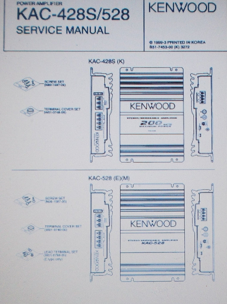 KENWOOD KAC-428 KAC-528 POWER AMP SERVICE MANUAL INC SCHEMS AND PARTS LIST 11 PAGES ENG