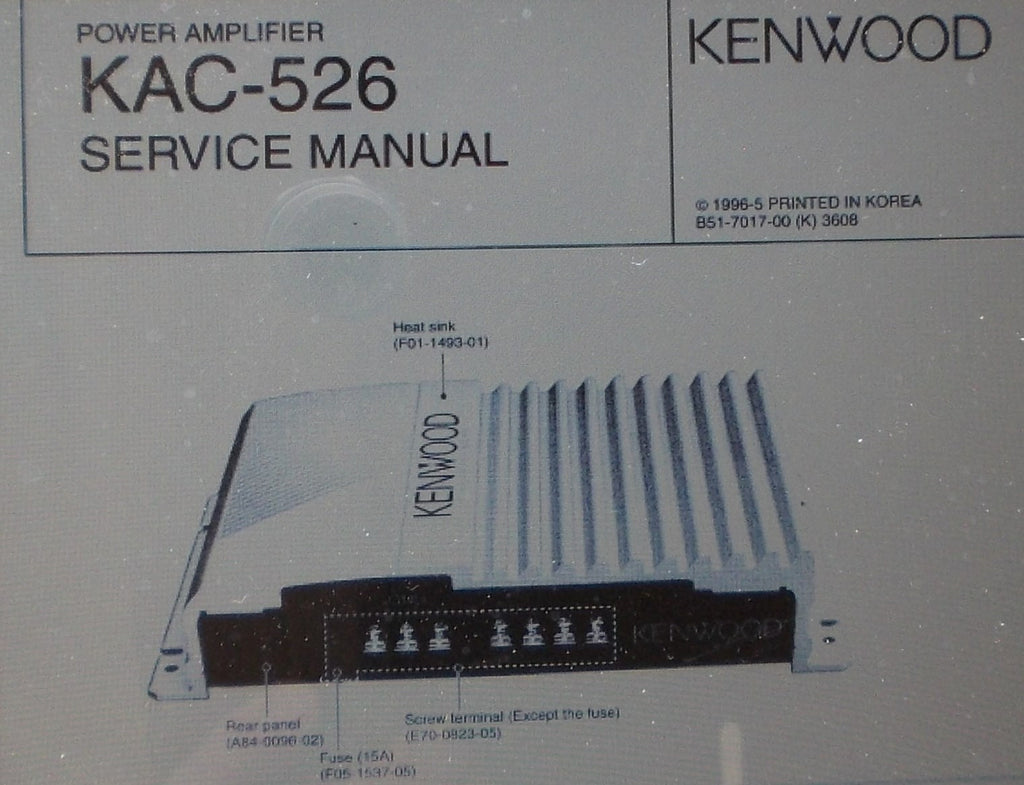 KENWOOD KAC-526 POWER AMP SERVICE MANUAL INC SCHEM DIAG PCBS AND PARTS LIST 12 PAGES ENG
