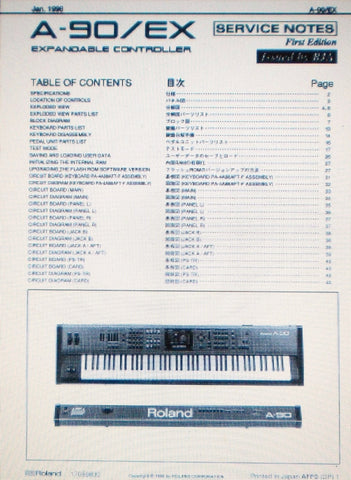 ROLAND A-90 EX EXPANDABLE CONTROLLER SERVICE NOTES FIRST EDITION INC SCHEMS AND PARTS LIST 40 PAGES ENG