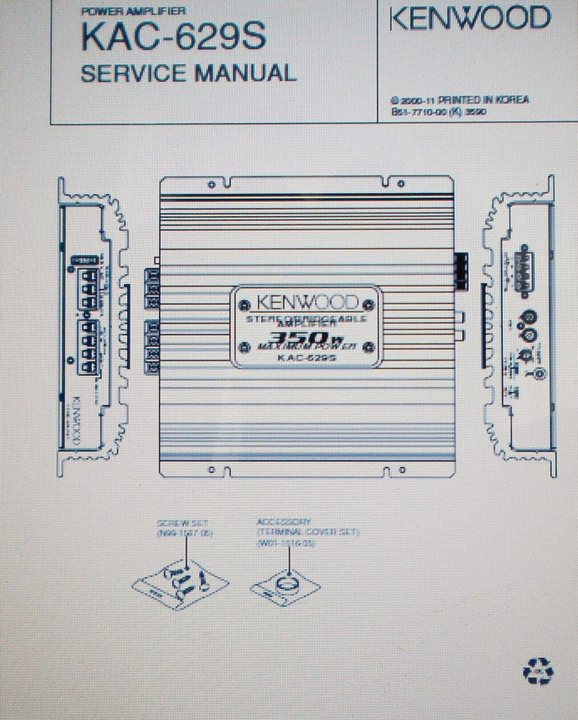 KENWOOD KAC-629S STEREO POWER AMP SERVICE MANUAL INC SCHEMS AND PARTS LIST 10 PAGES ENG