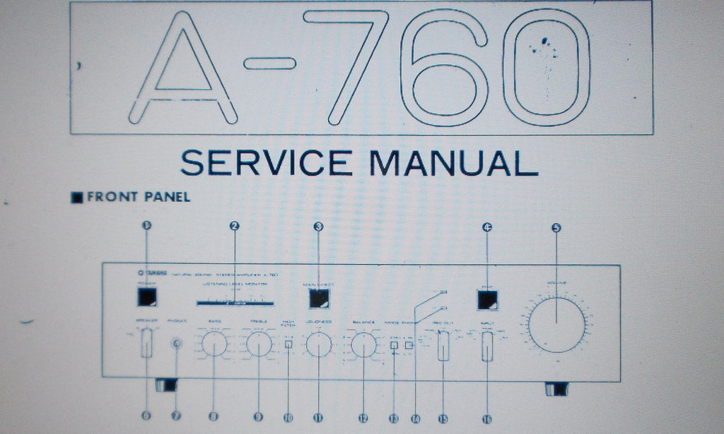 YAMAHA A-760 STEREO INTEGRATED AMP SERVICE MANUAL INC SCHEMS AND PARTS LIST 20 PAGES ENG