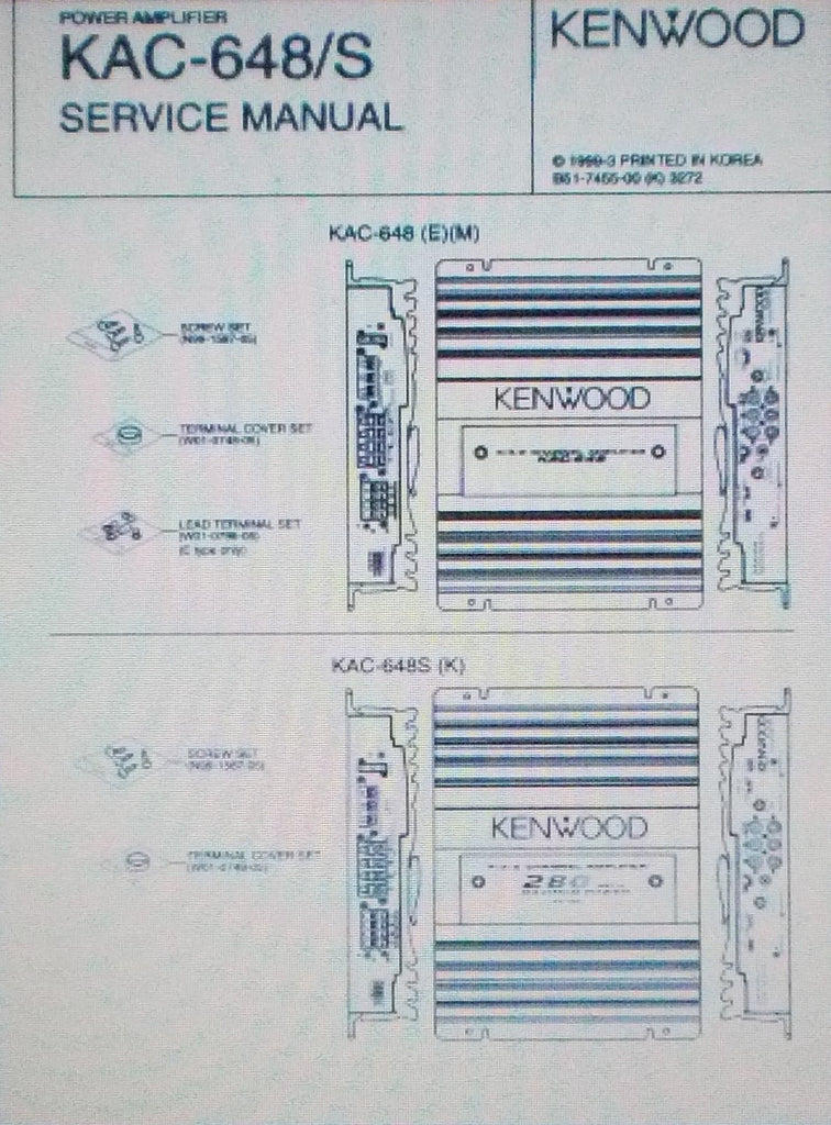 KENWOOD KAC-648 KAC-648S POWER AMP SERVICE MANUAL INC SCHEM DIAG AND PARTS LIST 12 PAGES ENG