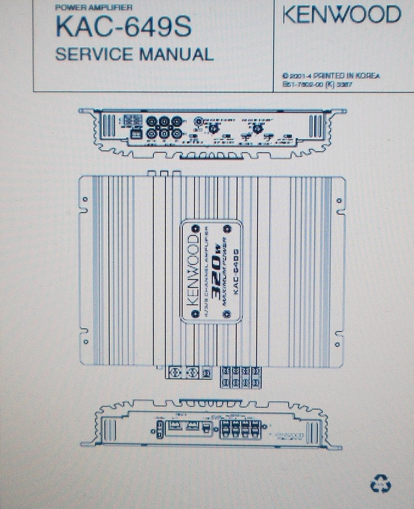 KENWOOD KAC-649S POWER AMP SERVICE MANUAL INC SCHEMS AND PARTS LIST 11 PAGES ENG