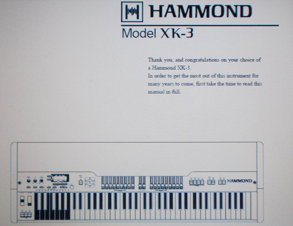 HAMMOND XK-3 KEYBOARD OWNER'S MANUAL INC TRSHOOT GUIDE 114 PAGES ENG