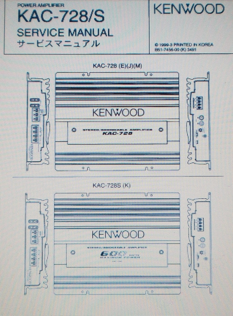 KENWOOD KAC-728 KAC-728S STEREO POWER AMP SERVICE MANUAL INC SCHEM DIAG PCBS AND PARTS LIST 12 PAGES ENG
