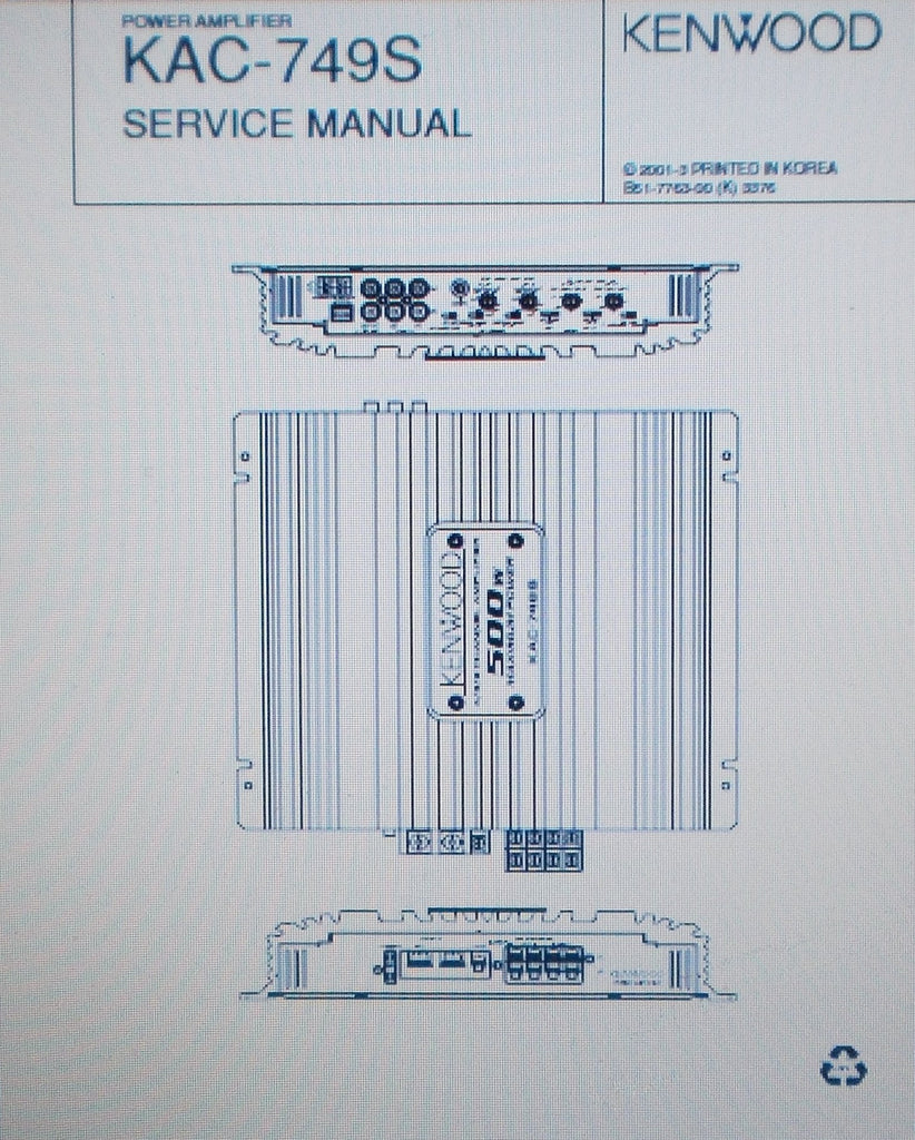 KENWOOD KAC-749S POWER AMP SERVICE MANUAL INC SCHEM DIAG PCBS AND PARTS LIST 11 PAGES ENG