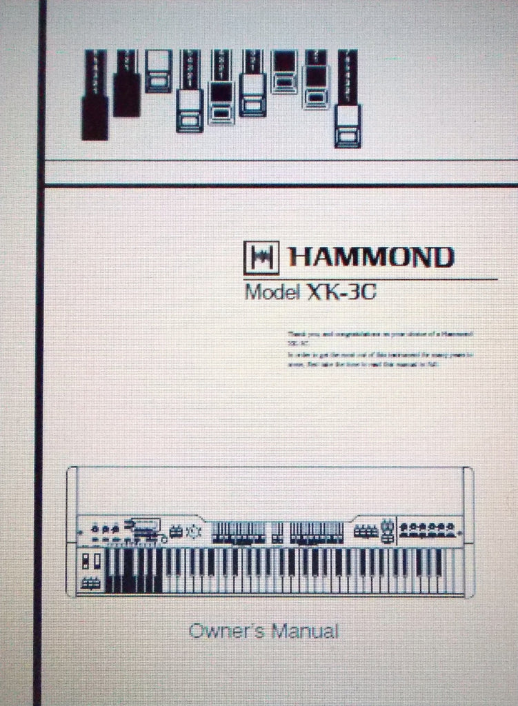 HAMMOND XK-3C KEYBOARD OWNER'S MANUAL INC TRSHOOT GUIDE 126 PAGES ENG