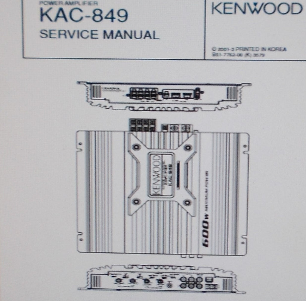 KENWOOD KAC-849 POWER AMP SERVICE MANUAL INC SCHEM DIAG PCB AND PARTS LIST 11 PAGES ENG