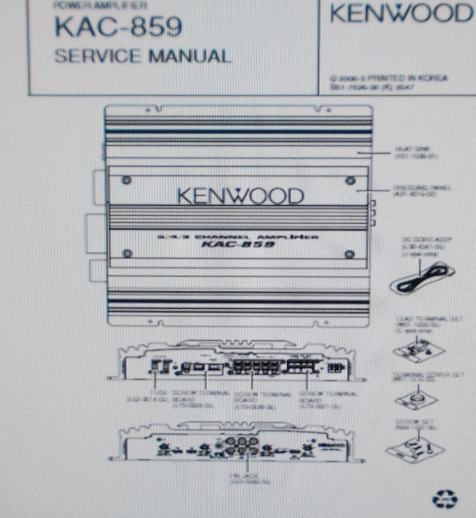 KENWOOD KAC-859 POWER AMP SERVICE MANUAL INC SCHEMS PCBS AND PARTS LIST 16 PAGES ENG