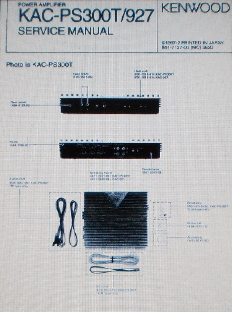 KENWOOD KAC-927 KAC-PS300T POWER AMP SERVICE MANUAL INC SCHEM DIAG PCB AND PARTS LIST 14 PAGES ENG