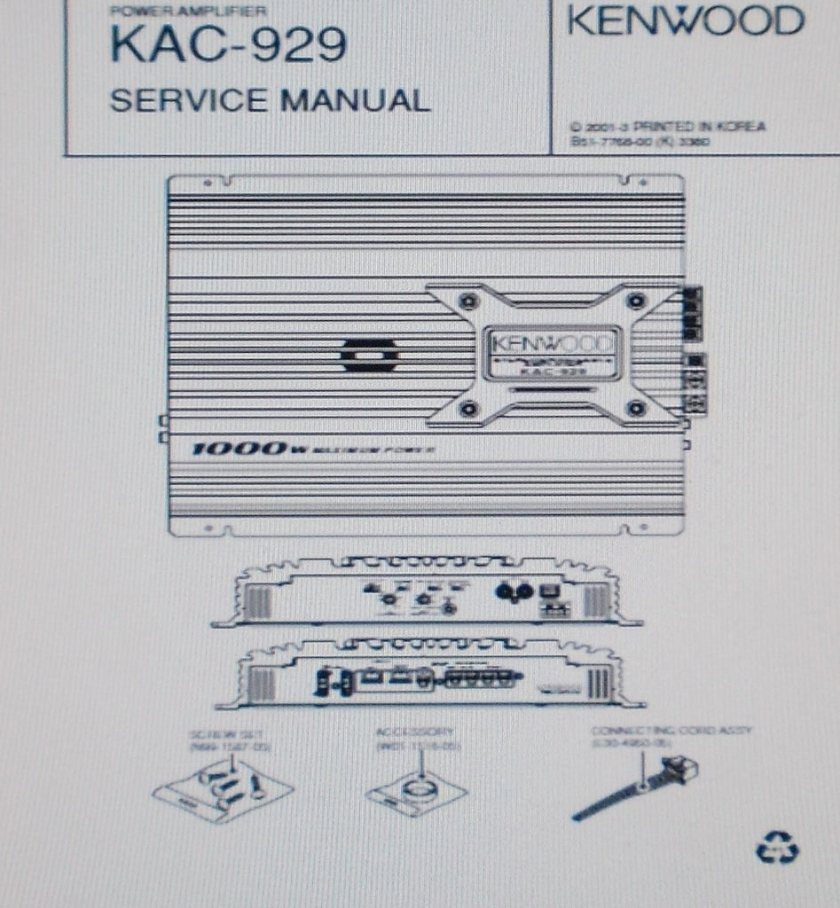 KENWOOD KAC-929 POWER AMP SERVICE MANUAL INC SCHEM DIAG BLK DIAG PCB AND PARTS LIST 13 PAGES ENG