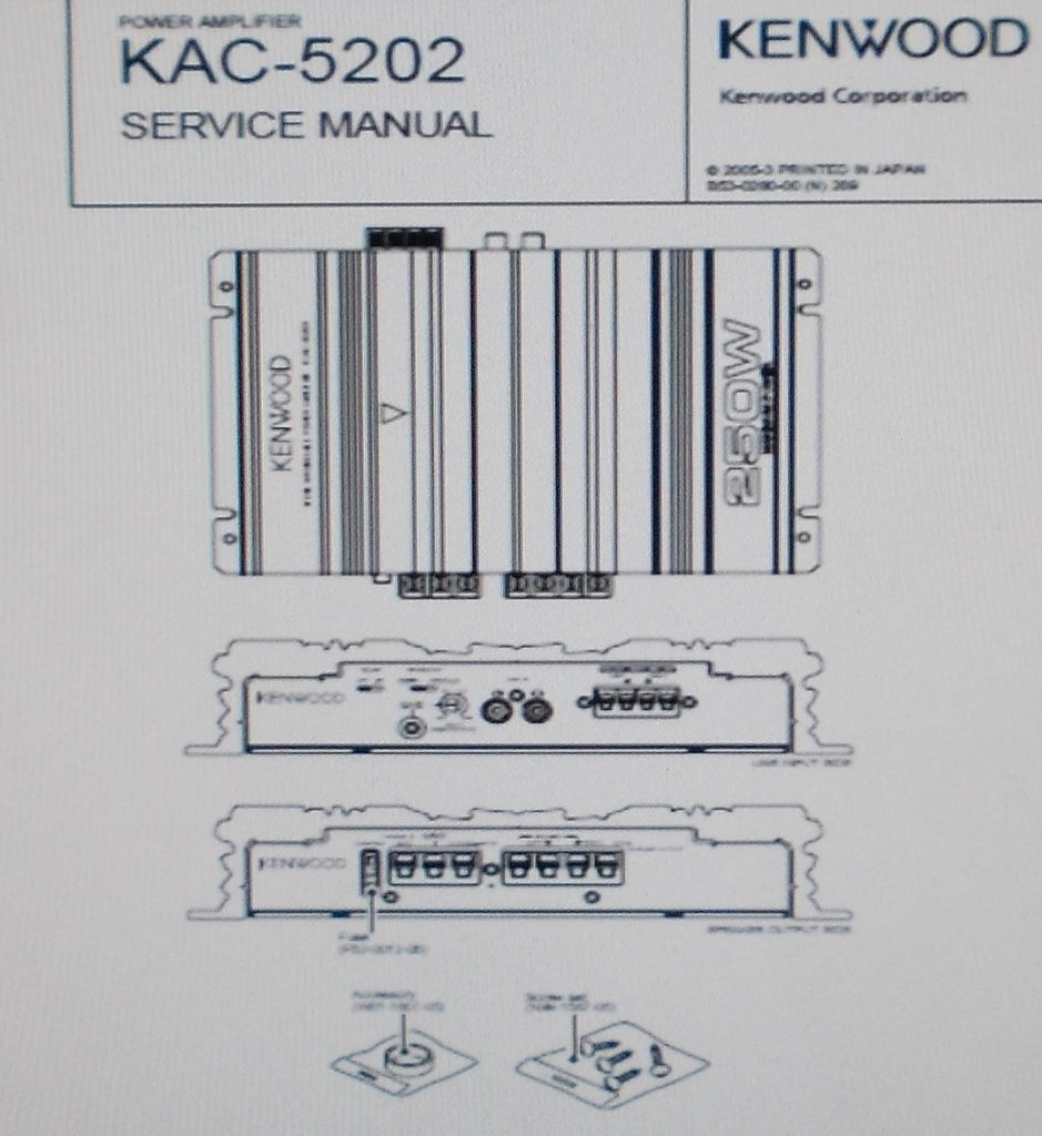 KENWOOD KAC-5202 POWER AMP SERVICE MANUAL INC SCHEM DIAG PCB AND PARTS LIST 10 PAGES ENG