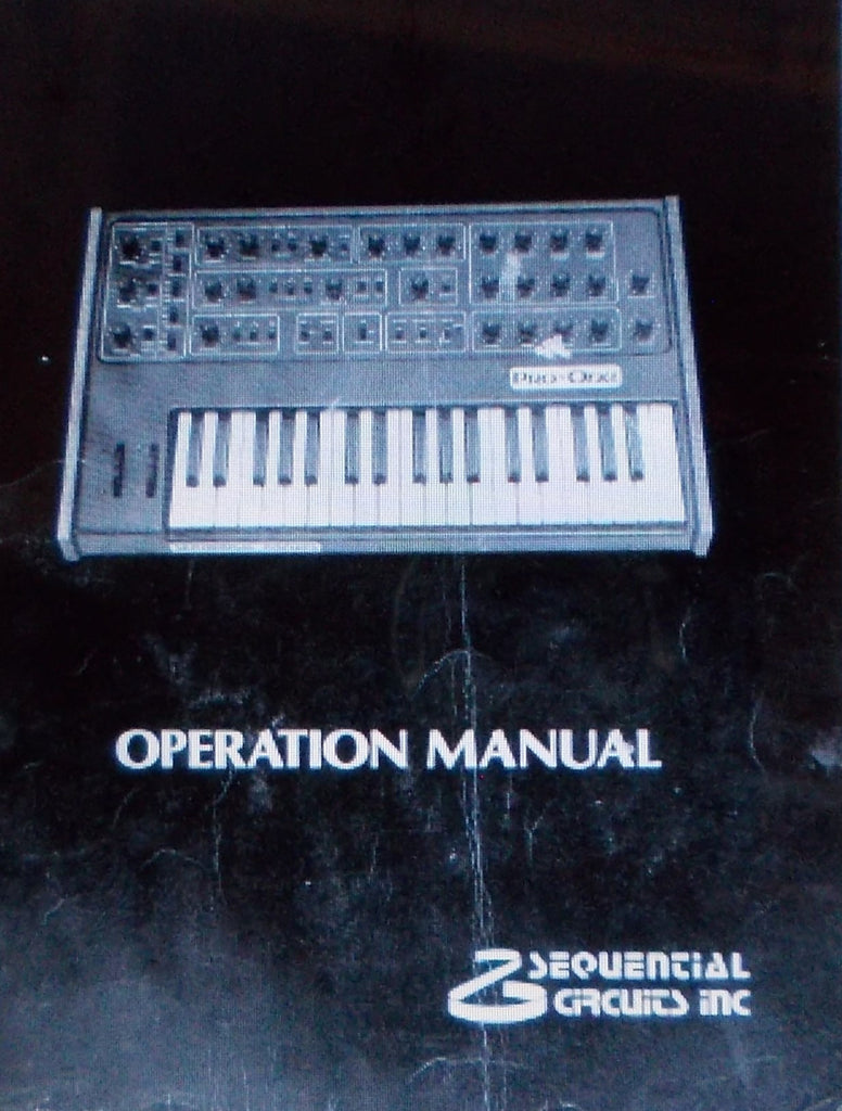 SEQUENTIAL CIRCUITS PRO ONE MONOPHONIC ANALOG SYNTHESIZER OPERATION MANUAL 37 PAGES ENG