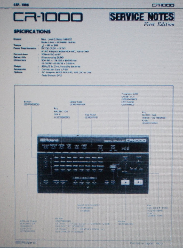 ROLAND CR-1000 DIGITAL DRUMMER RHYTHM MACHINE SERVICE NOTES FIRST EDITION INC SCHEMS AND PARTS LIST 11 PAGES ENG