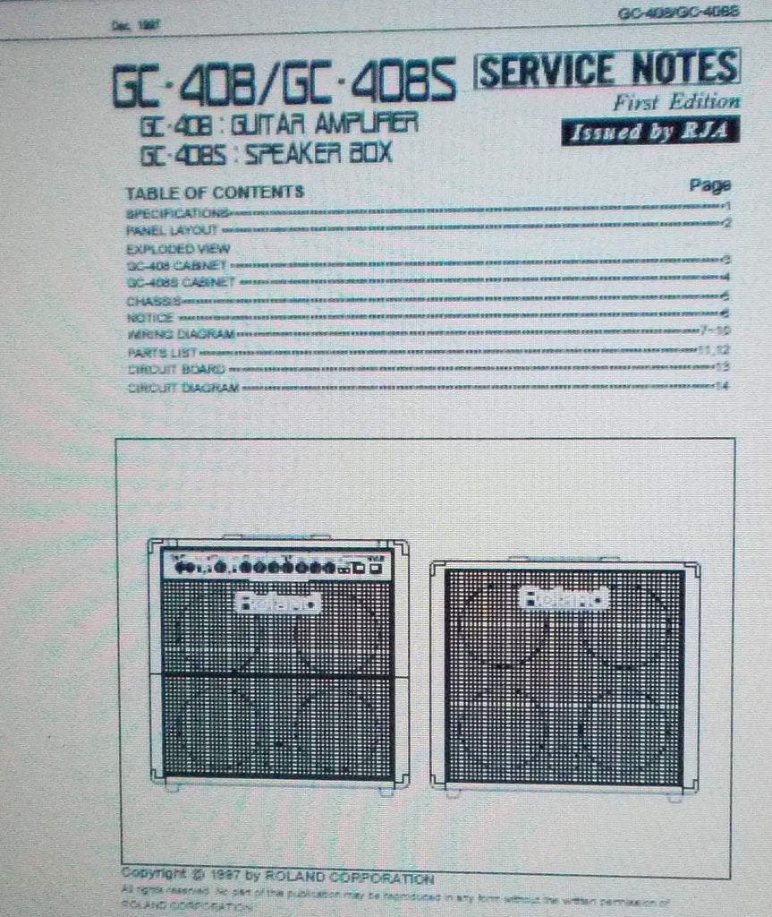 ROLAND GC-408 GUITAR AMP GC-408S SPKR BOX SERVICE NOTES FIRST EDITION INC SCHEMS AND PARTS LIST 14 PAGES ENG