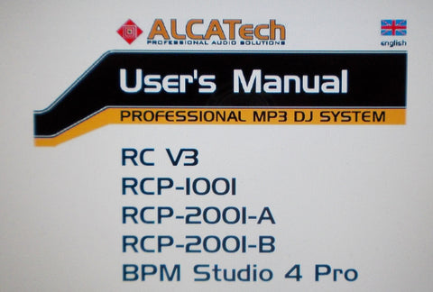 ALCATECH BPM STUDIO PRO MP3 DJ V3 PRO 4 USER'S MANUAL 144 PAGES ENG