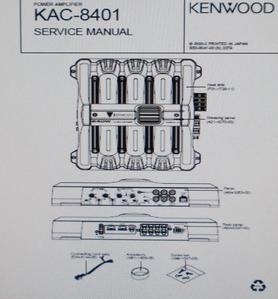 KENWOOD KAC-8401 POWER AMP SERVICE MANUAL INC SCHEM DIAG PCB AND PARTS LIST 12 PAGES ENG