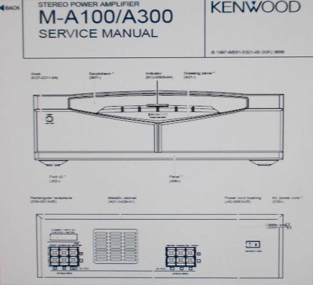 KENWOOD M-A100 M-A300 STEREO POWER AMP SERVICE MANUAL INC SCHEM DIAG PCBS AND PARTS LIST 16 PAGES ENG