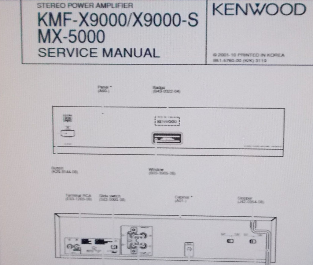 KENWOOD MX-5000 KMF-X9000 KMF-X9000-S STEREO POWER AMP SERVICE MANUAL INC SCHEM DIAG PCBS AND PARTS LIST 10 PAGES ENG