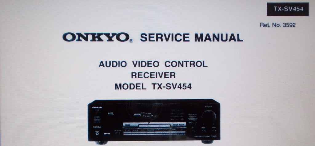 ONKYO TX-SV454 AV CONTROL RECEIVER SERVICE MANUAL INC SCHEMS AND PARTS LIST 21 PAGES ENG