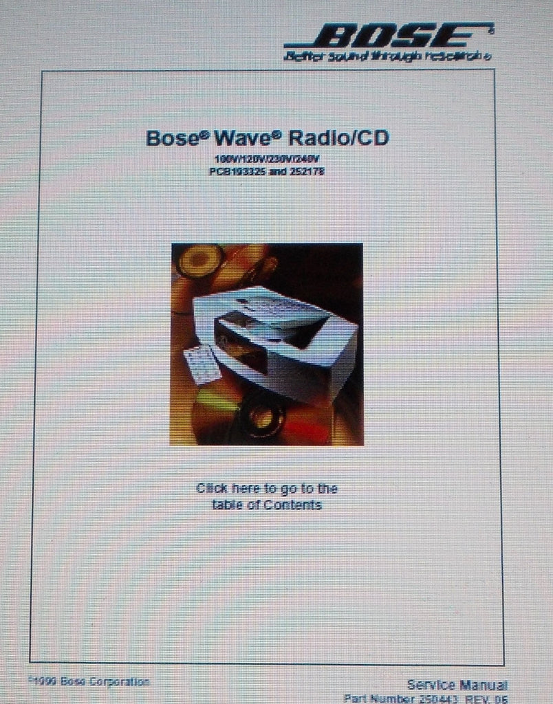 BOSE WAVE RADIO CD SERVICE MANUAL INC KEYBOARD SCHEM DIAG AND PARTS LIST 41 PAGES ENG [COVER AT PAGE 40]